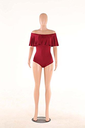 Trajes de Baño Fuera del Hombro IHRKleid® Mujer Bikinis Bonitos Triangl Deportivos Bañadores Mujeres Bikini Bandeau Push Up Color Puro Ropa de Baño Rojo