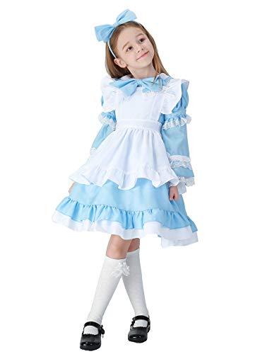 CASABACO Girl Anime Cartoon Cosplay Costume Apron Maid Dress Halloween Christmas Theater School Festival Performance Prairie Farmyard, XL Blue -