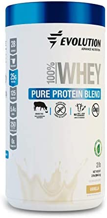 Evolution Whey Protein Powder Blend Grass Fed – 25 Grams of Protein Only 125 Calories – Gluten Produced by Ultrafiltration – Sweetened with Stevia – Hormones Free, Non GMO – 2 Pounds Vanilla