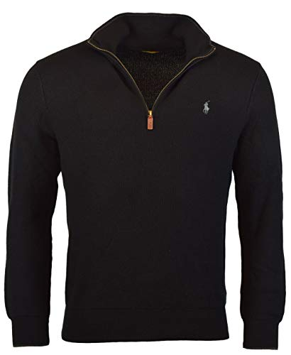 (Polo Ralph Lauren Mens Ribbed Trim Zipper Henley Sweater Black S)