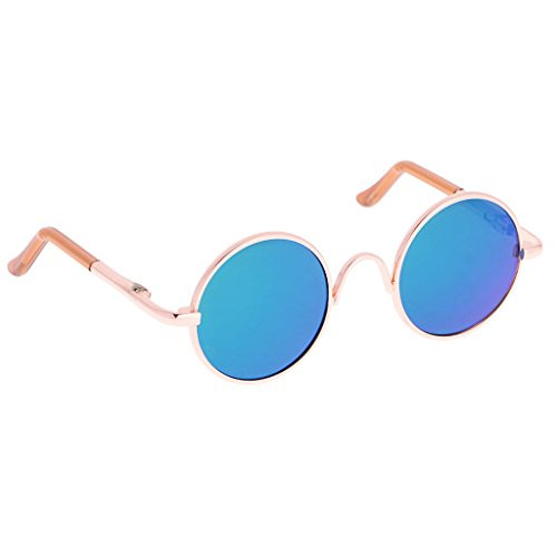 Jili Online A Pair of Gold Round Frame Glasses Sunglasses for 1/6 Blythe Doll Green Lens