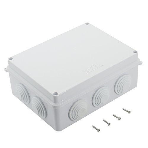 LeMotech ABS Plastic Dustproof Waterproof IP65 Junction Box Universal Electrical Project Enclosure White 7.9x 6.1 x 3.1 (200mmx155mmx80mm)