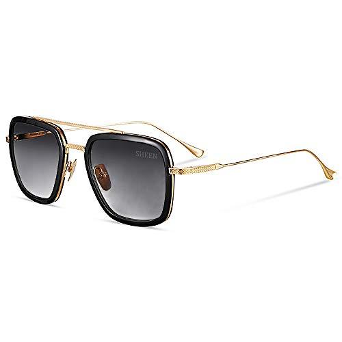 Retro Aviator Sunglasses Square Metal Frame for Men Women Tony Stark Sunglasses Downey Iron Man Gold Frame Dark Grey ()