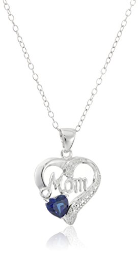 "Sterling Silver ""Mom"" Heart Pendant Necklace with Created Blue Sapphire and Diamond Accent"
