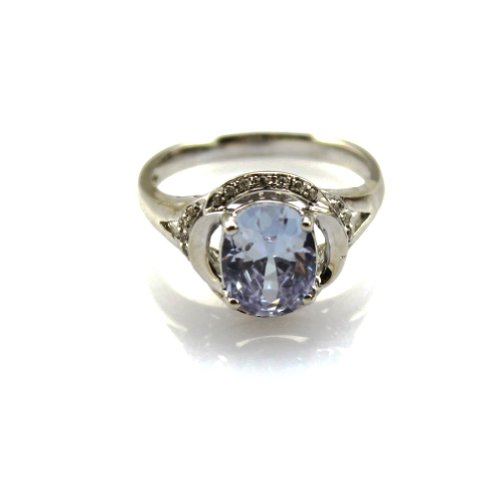 Jade Angel White Gold Plated Sterling Silver with 7x9mm Lavender Cubic Zirconia and Rhinestone Ring -7