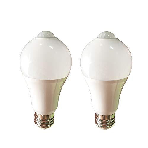 2 Pack LED A19 Light Bulbs with Motion Detection Sensor Motion PIR Infrared Sensor Light Bulb Motion Activated Dusk to Dawn 12W 1000lm 6000K for Front Door Porch Garage Basement Hallway Closet