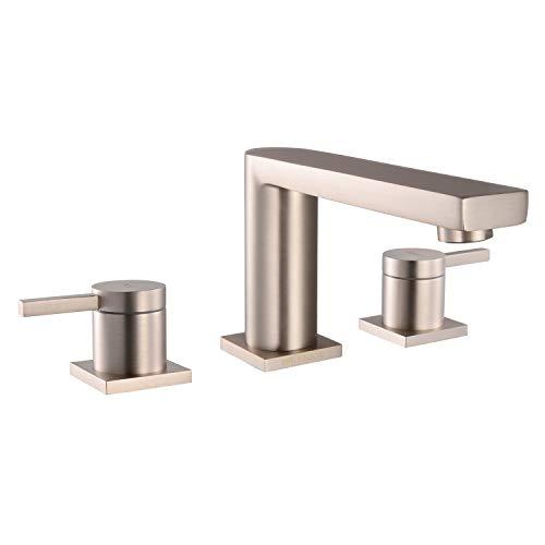 - MR. FAUCET 3 Hole Basin Deck Mount Two-Handle Widespread Bathroom Sink/Bathtub Faucet, Brushed Nickel