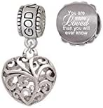Medium Open Filigree Heart Godmother Charm Bead with You Are More Loved Bead Set of 2
