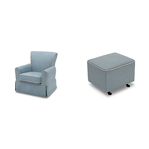 Delta Furniture Benbridge Glider Swivel Rocker Chair and Gliding Ottoman, Frozen Blue with Cream Welt by Delta Furniture