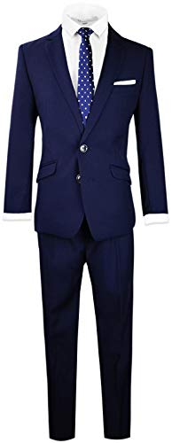 Black n Bianco Signature Boys' Slim Fit Suit in Navy Size -