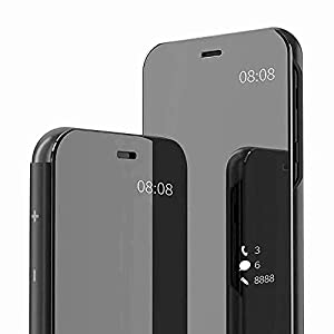 Shreycase Polycarbonate Poco M3 Pro Mirror Flip Case with Leather Protection Flip Cover for Poco M3 Pro, Black