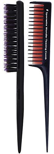 Spornette Teasing Brush & Comb Set - Includes Little Wonder Boar & Tourmaline Nylon Bristle Teasing Brush #111 & Triple Teasing Comb #TC-1, for Back Brushing, Combing, Creating Volume, Slicking Hair