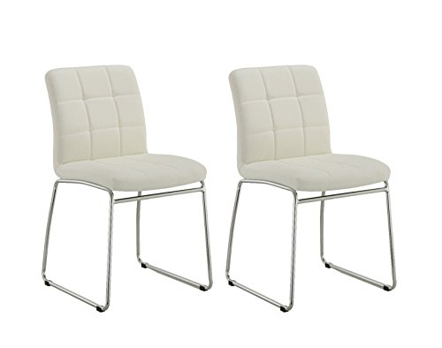 Duhome 2 Pcs Synthetic Leather Side Dining Chairs Office Reception Chair Sturdy Metal Base White Review