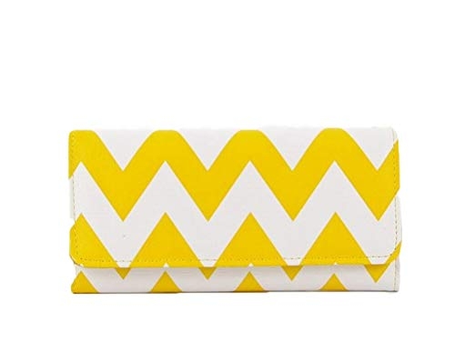 StylesILove Women Two Tone Chevron Zigzag Trifold Leatherette Long Wallet (Yellow)