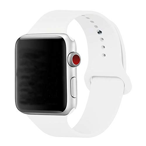 YC YANCH Compatible for Apple Watch Band,Soft Silicone Sport Band Replacement Wrist Strap Compatible for iWatch Series 4,Series 3/2/1 Nike+,Sport,Edition,38mm 40mm S/M,White