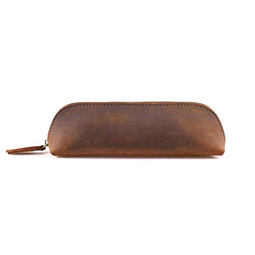 Longpro Handmade Genuine Leather Pen Case Pencil Holder with Zipper, Stationery Cosmetic Coin Purse Pouch Bag for Students Professionals and Artists Gift