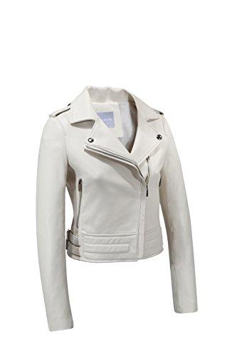 Ladies Lambskin Leather Coat Jacket (GIRIANI Women's Jacket Genuine Lambskin Leather Biker Coat (Large, White))