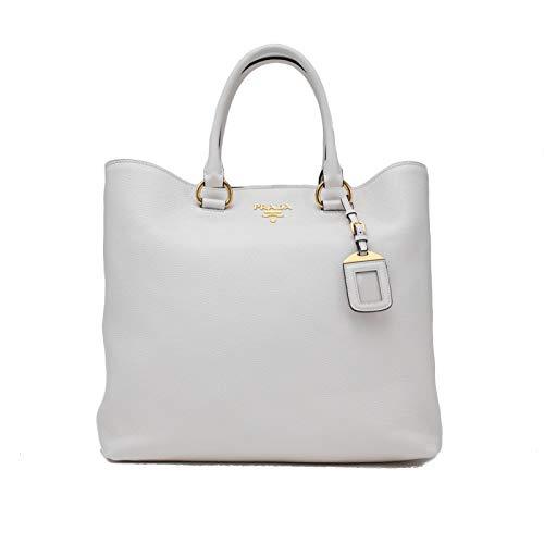 Prada Vitello Phenix Leather Large Tote Handbag White
