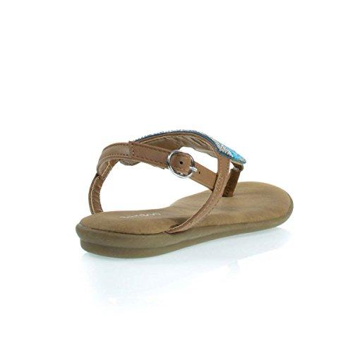 Bekväm Vadderad Platta Sandal W Stam- Inspirerade Pärlor & Rhinestone Tan / Blå