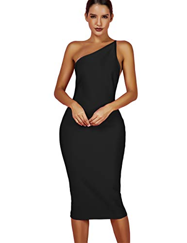 whoinshop Women's One Shoulder Bandage Evening Knee Length Cocktail Party Dress (M, Black)