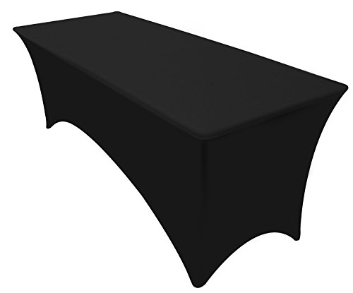 Kitchen Rectangular Table - Utopia Kitchen Rectangular Stretch Tablecloth - 8 Feet - Black Color - Spandex Tight Fit Table Cover