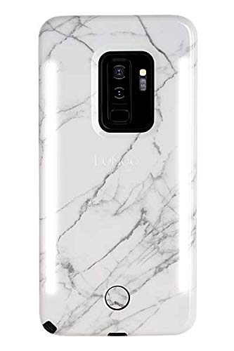LuMee Duo Phone Case, White Marble | Front & Back