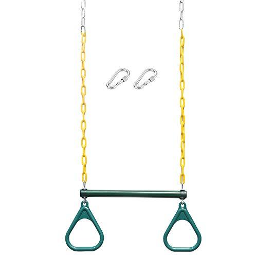 (Transser Heavy Duty Trapeze Swing Bar with 2 Rings-Long 47.6