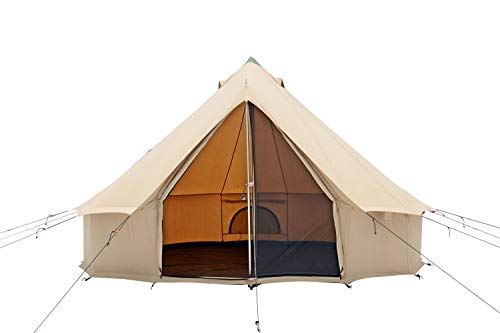 Premium 100% Cotton Canvas Bell Tent, Water Repellent complete with Steel Center & Door Pole, Roof Vents, Bug mesh Doors & Windows for All Season Camping and Glamping (13ft (4M), (Best Bell Camping Tents)