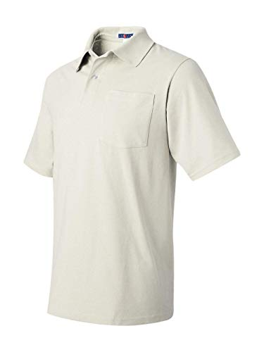 (Jerzees mens 5.6 oz. 50/50 Jersey Pocket Polo with SpotShield(436P)-WHITE-XL)