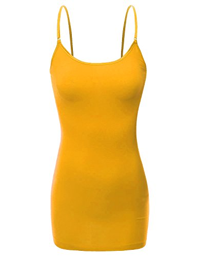 XT1002L Adjustable Spaghetti Strap Basic Long Cami Tunic Tank Top Plus Size Mustard - Tunic Cami Adjustable