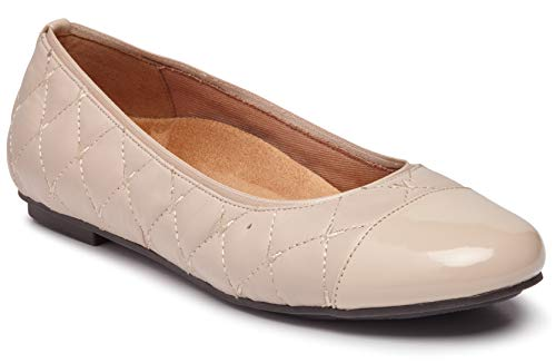 (Vionic Women's Spark Desiree Ballet Flat - Ladies Flats with Concealed Orthotic Arch Support Nude 5 M US)