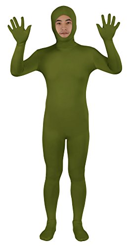 Sheface Spandex Open Face Zentai Suit Halloween Costumes (X-Large, Army -