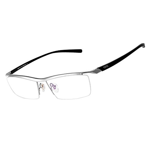 (Bertha Men Semi-Rimless Eyeglasses,Pure Titanium Eyewear Ultra Lightweight Business Prescription Optical Frame 8189 (Sliver))