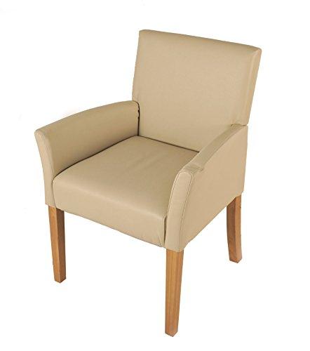 XXS® Möbel Armlehnstuhl Cadeo Stuhl in creme Beine in buche farben angenehme Polsterung Lederlook mit Armlehnen pflegeleicht zerlegt Paketversand
