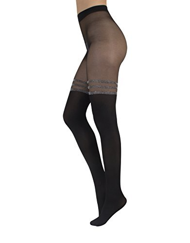 Hosiery Tights Stripe Sexy (MOCK SUSPENDER PANTYHOSE WITH STRIPES IN LUREX | 40/20 DEN | OPAQUE - SHEER TIGHTS |S M L XL | MADE IN ITALY | ITALIAN HOSIERY | (S/M))