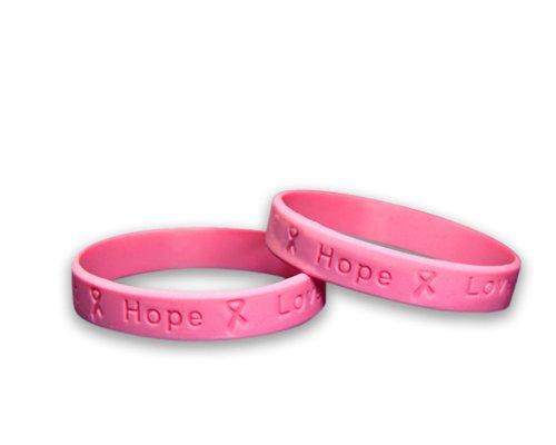 Pink Ribbon Silicone Bracelets (Adult) - 50 Bracelets