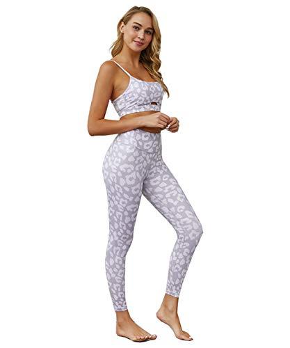 Women Activewear Set 2 Piece Sports Bra Seamless Leggings for Workout Yoga Gym (Leopard Grey, S)