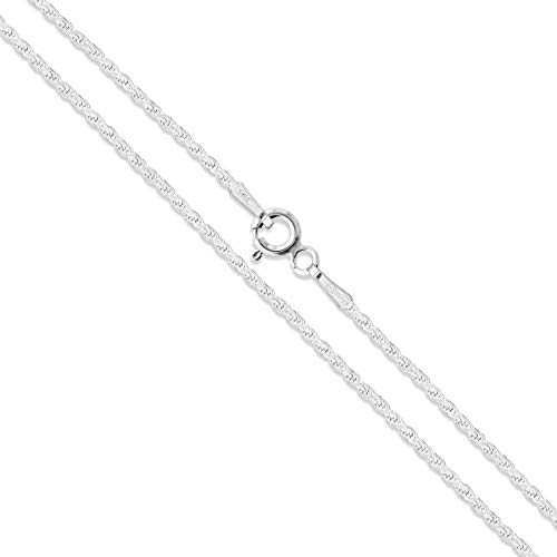 Sterling Silver Diamond-Cut Rope Chain 1.1mm Solid 925 Italy New Necklace 16""
