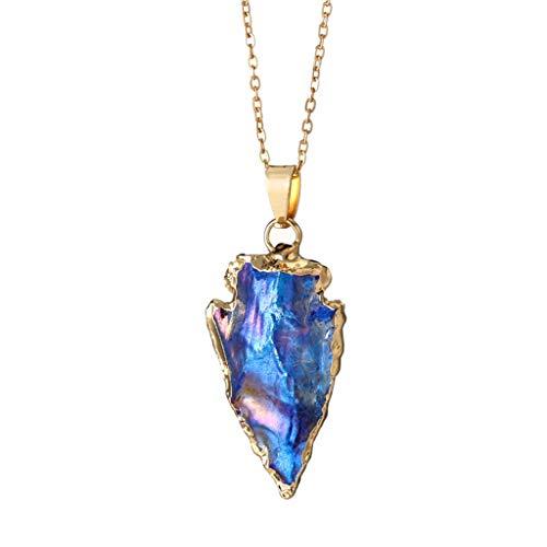 ✔ Hypothesis_X ☎ Long Necklaces for Women Colorful Stone Pendant Necklace Irregular Shape Pendant Necklace Blue 5/8' No Leaf Pendant
