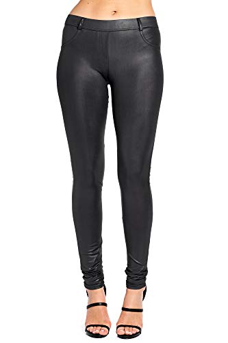 Modern Kiwi Slim Fit Liquid Matte Pocket Leggings Black Medium