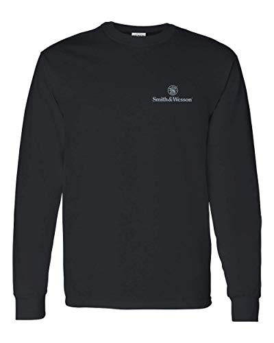 Smith & Wesson Trade Mark Logo Long Sleeve Tee in Black - Officially Licensed