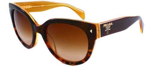 Prada Women's PRL17OS FAL-1Z1 Sunglasses, Top Light Havana/Opal Yellow/Brown Gradient, - Prada Top