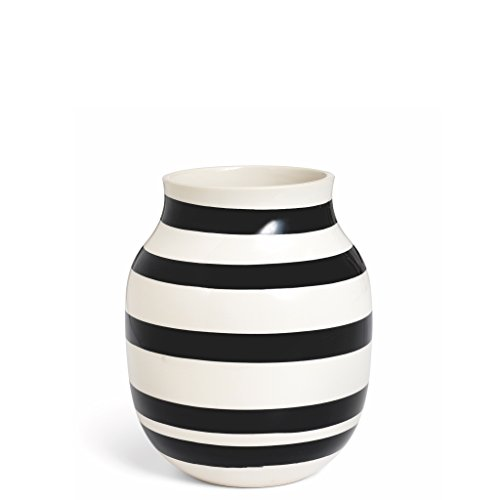 Kahler Omaggio Ceramic Vase - Height 200mm (7.9 In.) Diameter 165mm (6.5 In.) - Handmade Faience (White / Black)