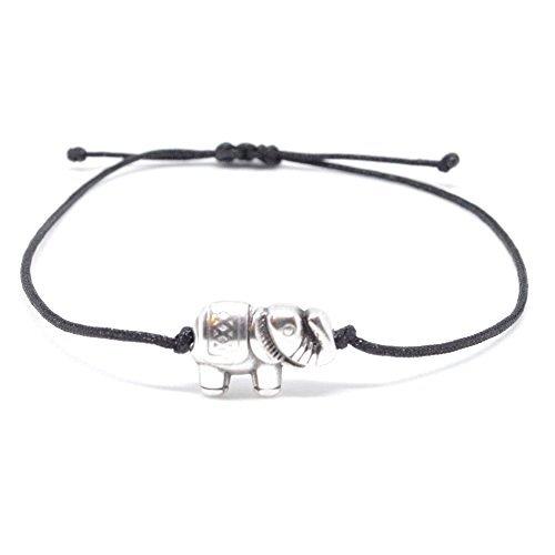 Pulsera de plata elefante en tela negra brazo – Visillo Elefantes Pulsera