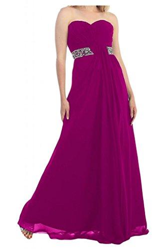 Toscana novia elegante en forma de corazón de cristal vestidos de gasa por la noche vestido de fiesta de fútbol largo Prom vestidos fucsia