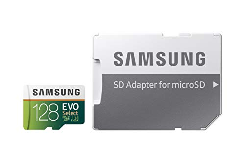 Samsung EVO Select 128GB microSDXC UHS-I U3 100MB/s Full HD & 4K UHD Memory Card with SD Adapter (MB-ME128HA/EU)