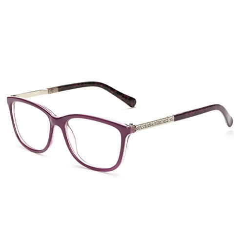 D.King Classic Retro Fashion Style Clear Lenses Glasses Frame Eyewear - Purple Rectangle