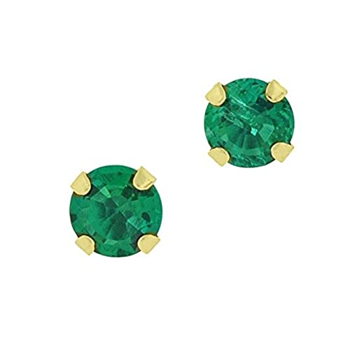 .50 cttw Round 4MM Green Emerald 10K Yellow Gold Stud Earrings