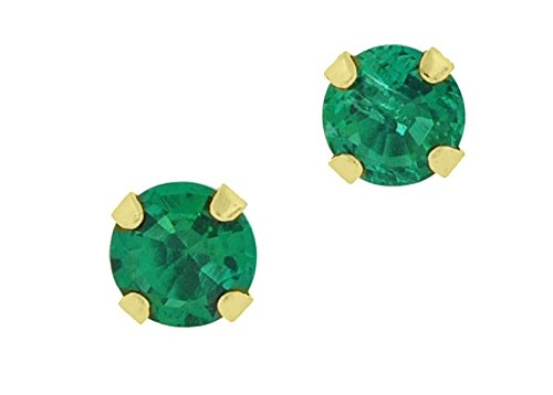 4mm Emerald Stud Earrings - .50 cttw Round 4MM Green Emerald 10K Yellow Gold Stud Earrings