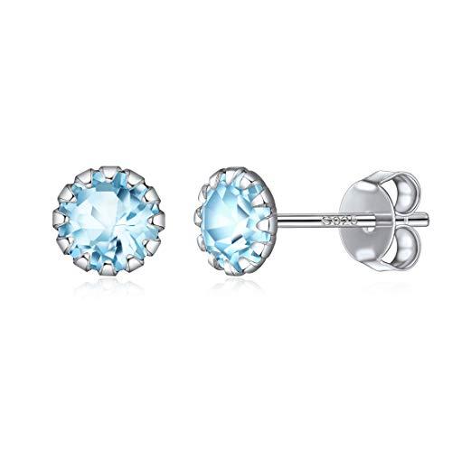 Aquamarine Sterling Silver Stud - ChicSilver Women Earrings Hypoallergenic 925 Sterling Silver Round Birthstone Stud Earrings For Women Men Girls